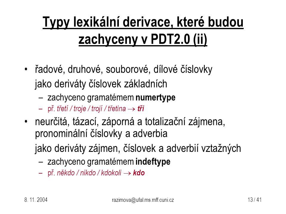 Typy lexikální derivace, které budou zachyceny v PDT2.0 (ii)