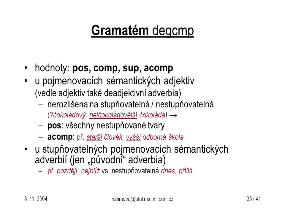 Gramatém degcmp hodnoty: pos, comp, sup, acomp