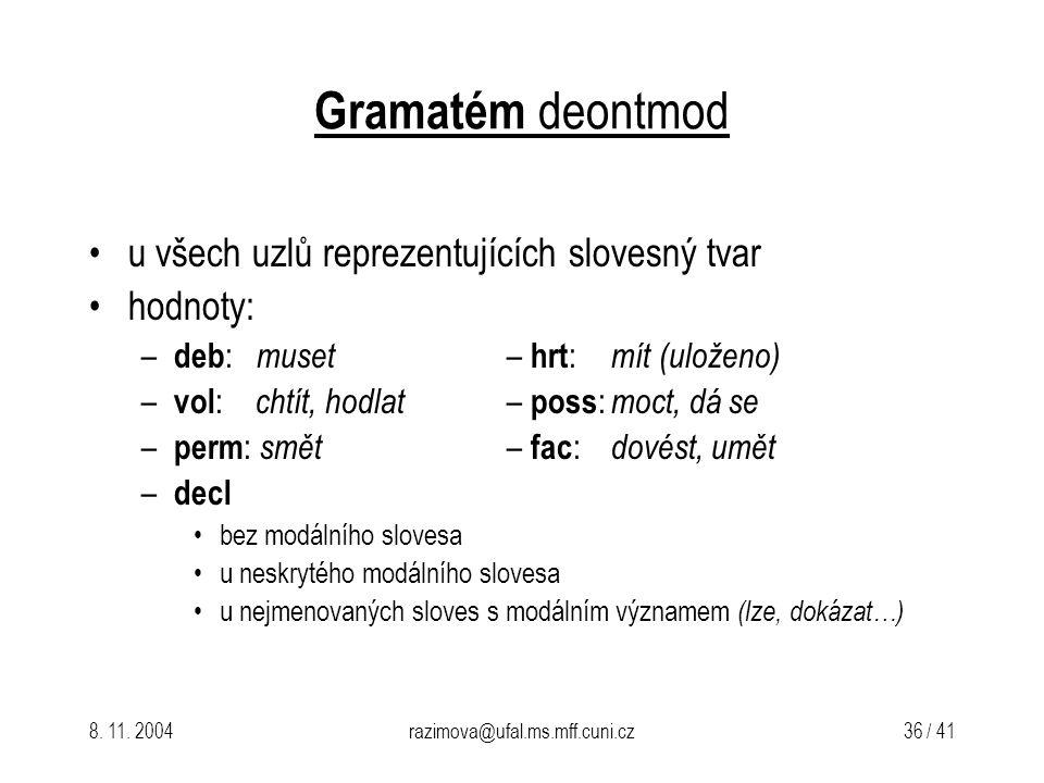 Gramatém deontmod u všech uzlů reprezentujících slovesný tvar hodnoty: