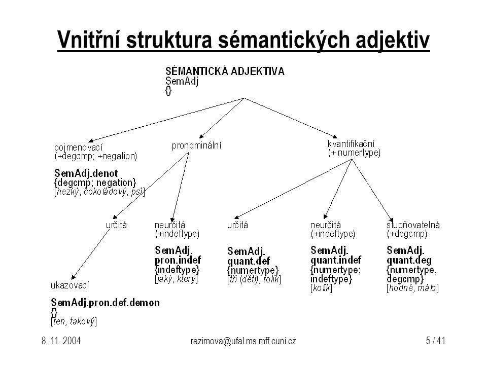 Vnitřní struktura sémantických adjektiv