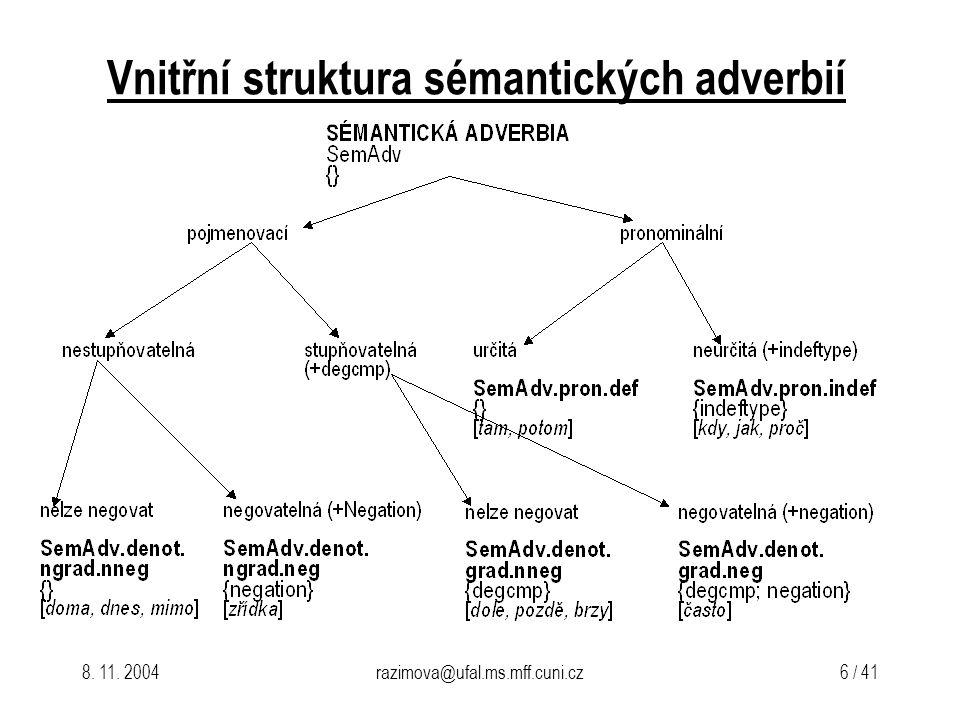 Vnitřní struktura sémantických adverbií