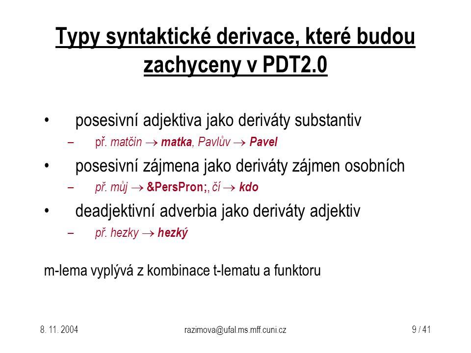 Typy syntaktické derivace, které budou zachyceny v PDT2.0