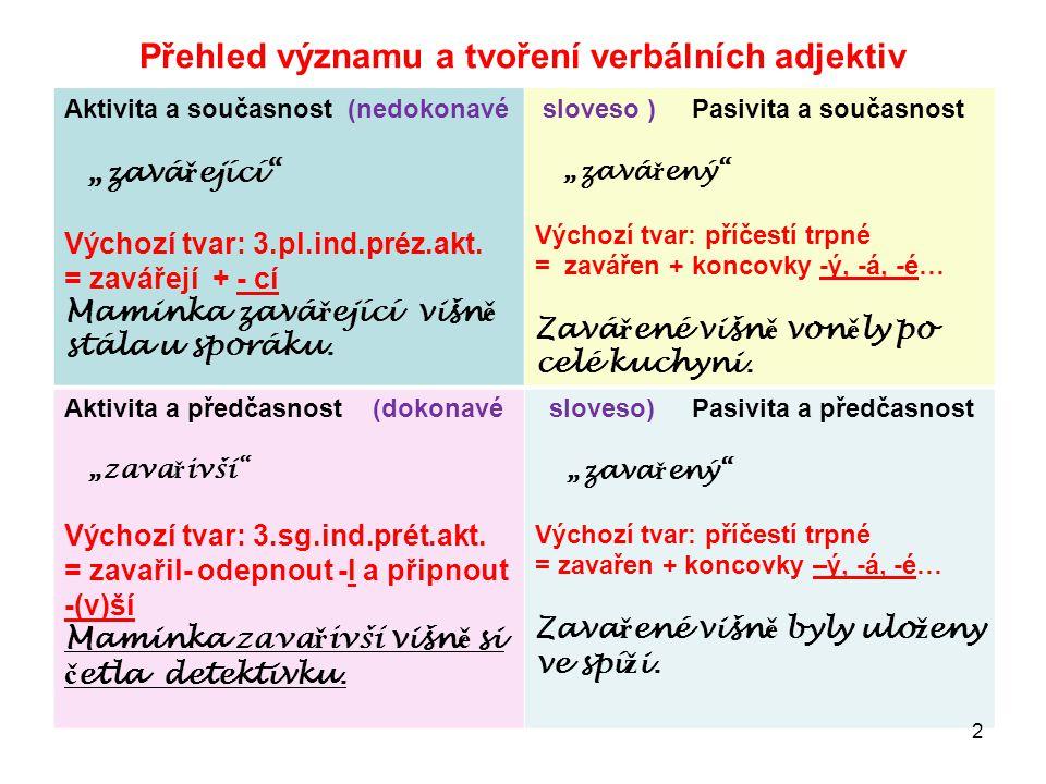 Přehled významu a tvoření verbálních adjektiv