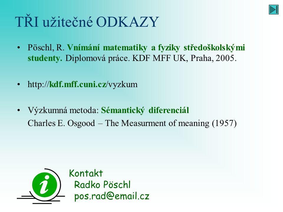 TŘI užitečné ODKAZY Kontakt Radko Pöschl pos.rad@email.cz