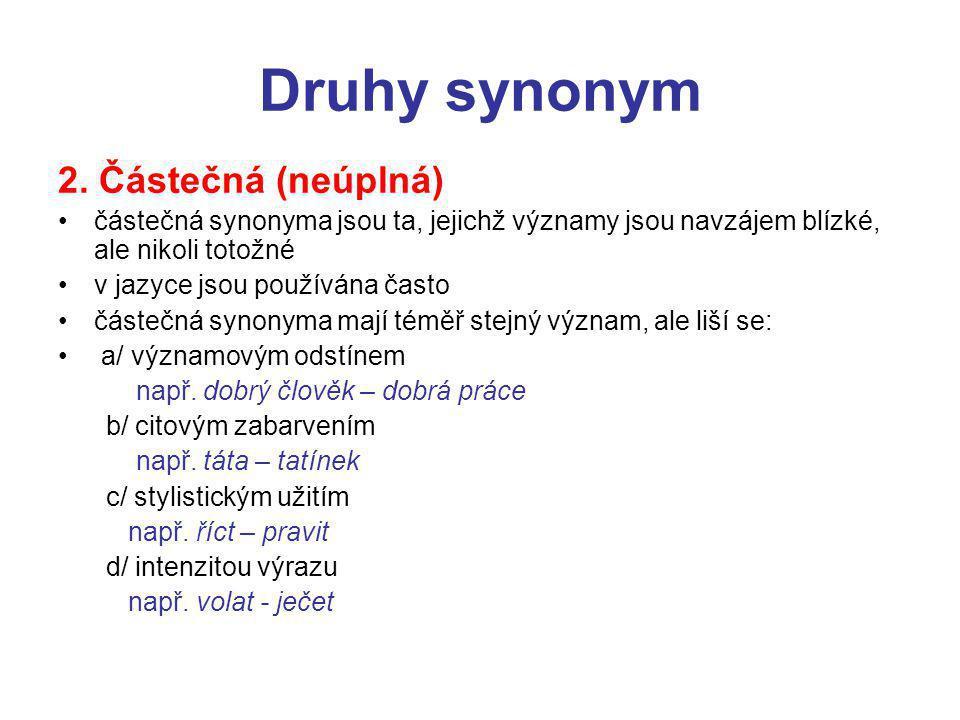 Druhy synonym 2. Částečná (neúplná)