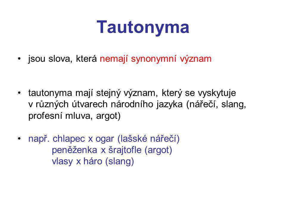 Tautonyma jsou slova, která nemají synonymní význam
