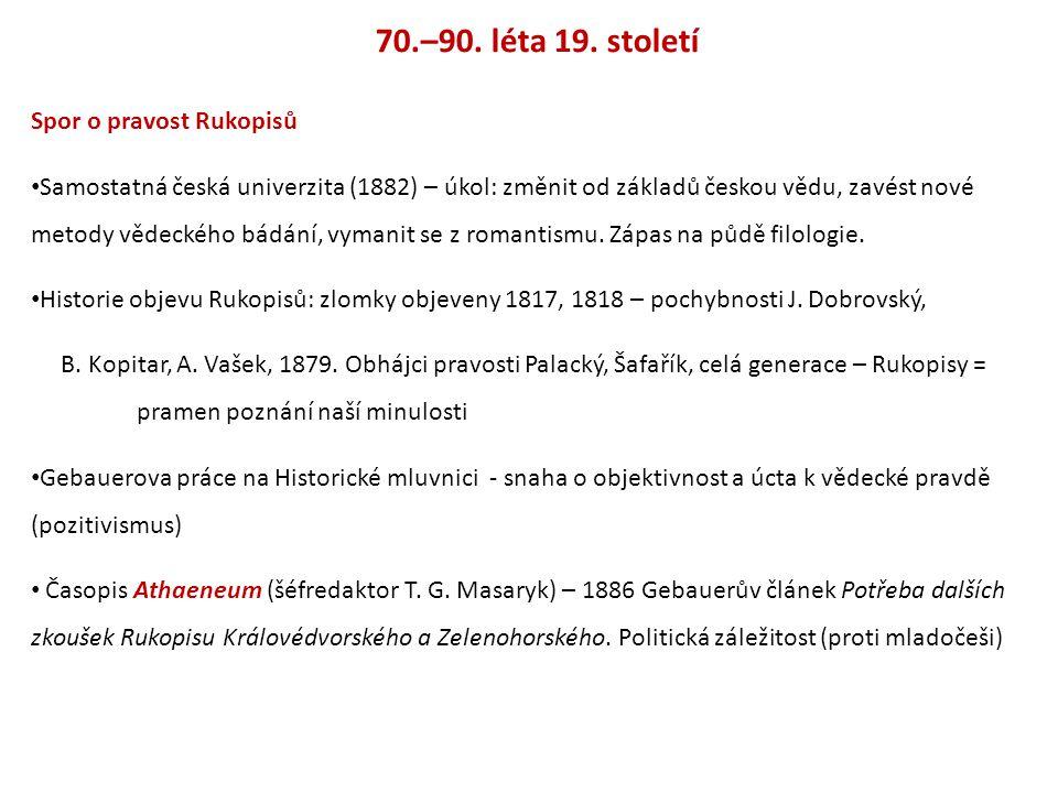 70.–90. léta 19. století Spor o pravost Rukopisů