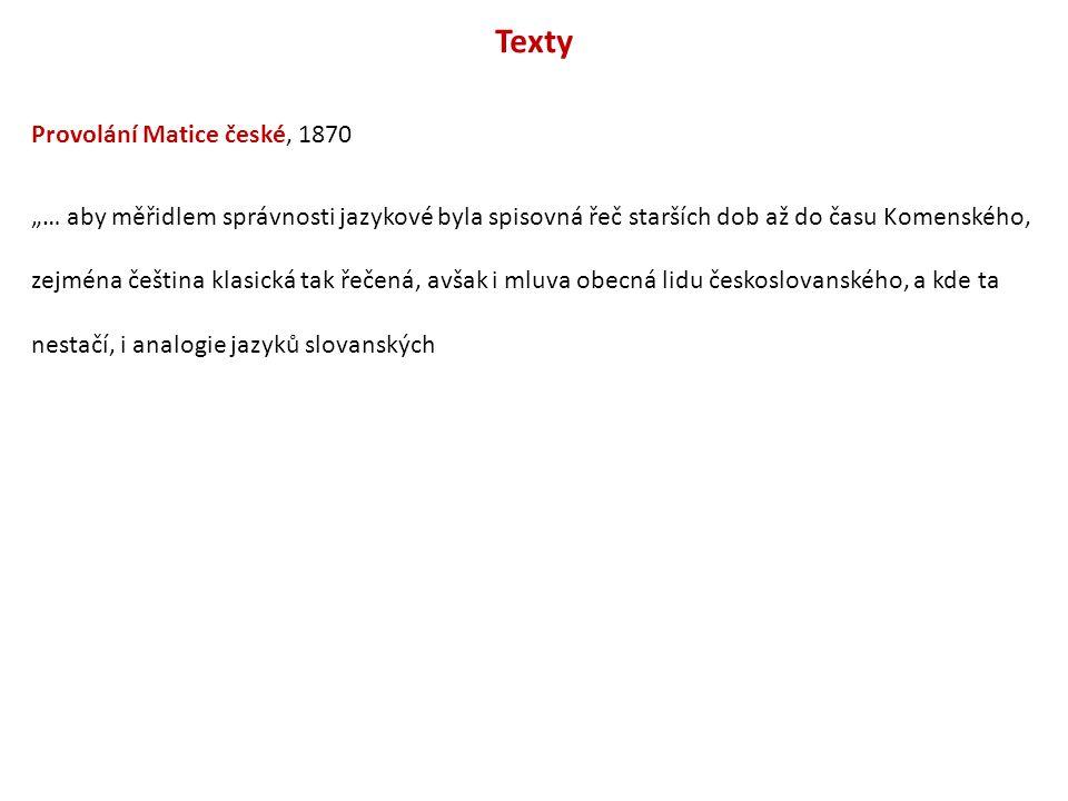 Texty Provolání Matice české, 1870