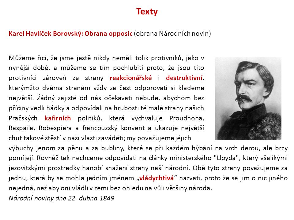 Texty Karel Havlíček Borovský: Obrana opposic (obrana Národních novin)