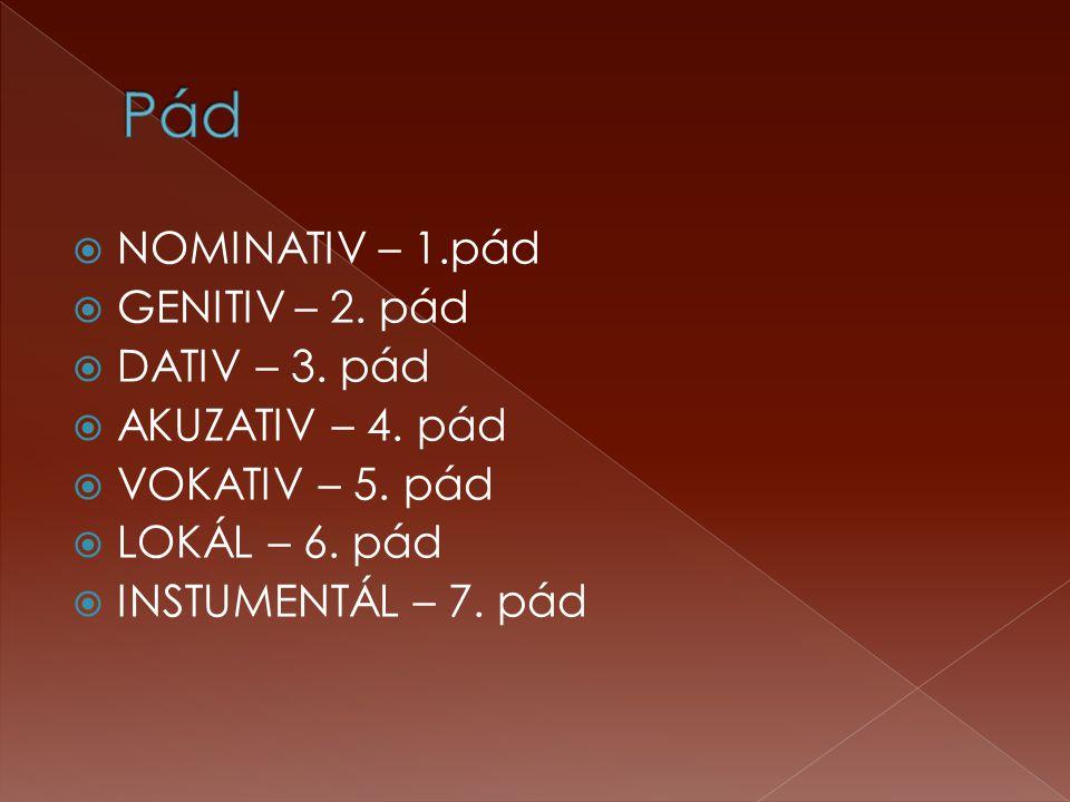 Pád NOMINATIV – 1.pád GENITIV – 2. pád DATIV – 3. pád