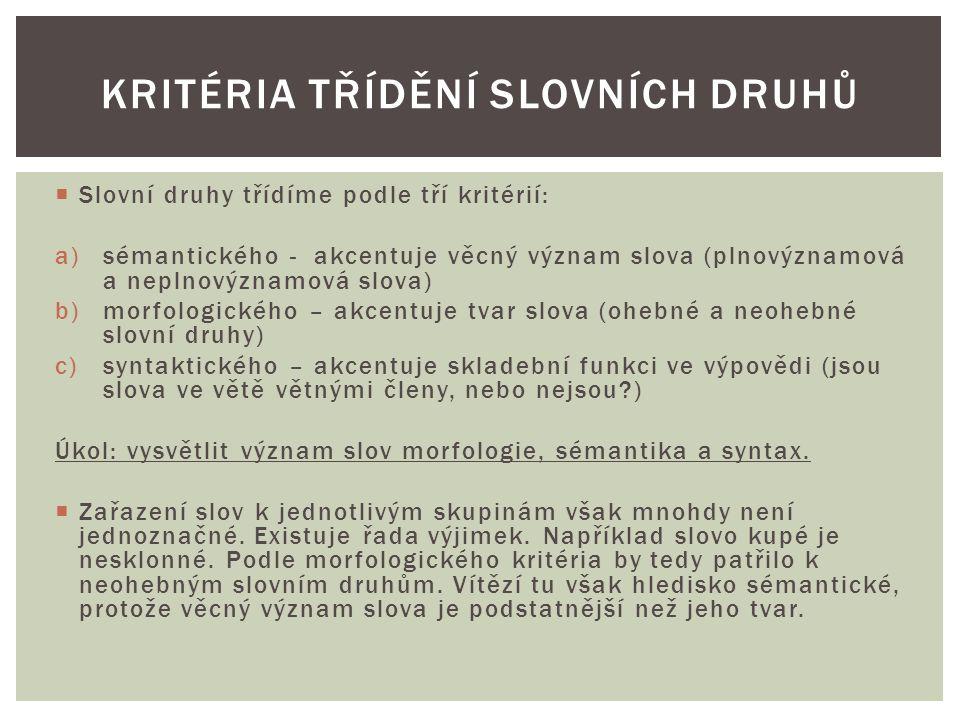 Kritéria třídění slovních druhů