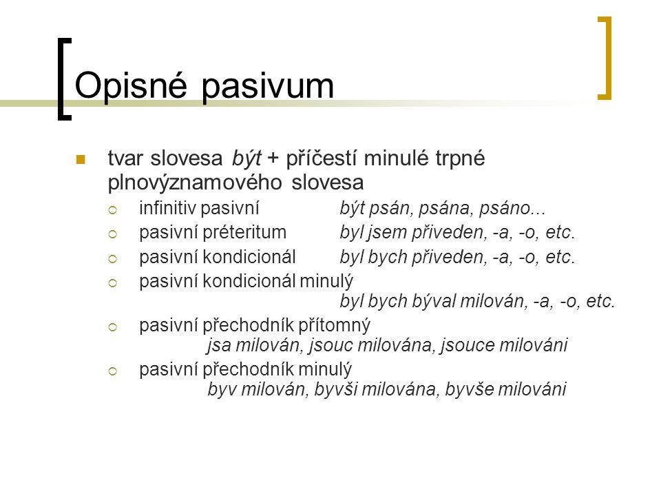 Opisné pasivum tvar slovesa být + příčestí minulé trpné plnovýznamového slovesa. infinitiv pasivní být psán, psána, psáno...