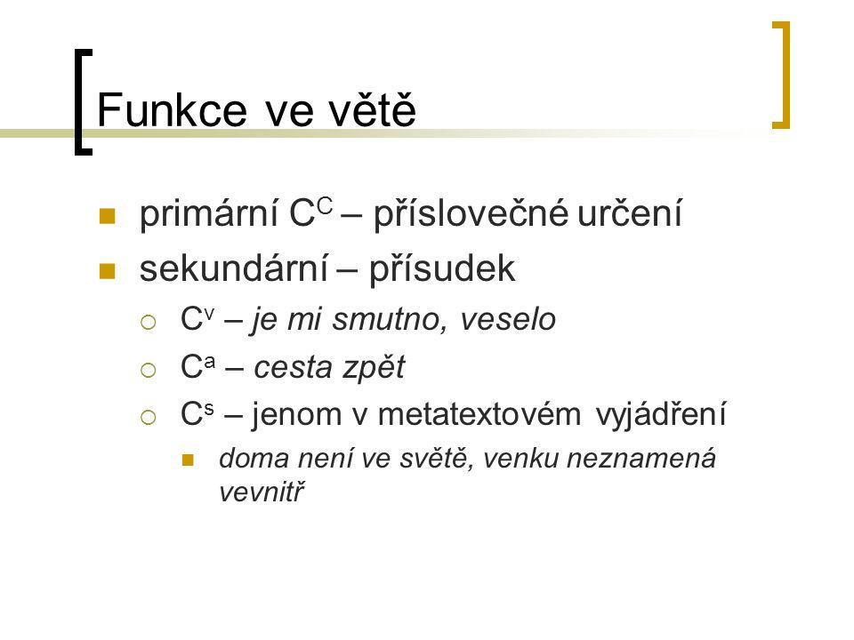 Funkce ve větě primární CC – příslovečné určení sekundární – přísudek
