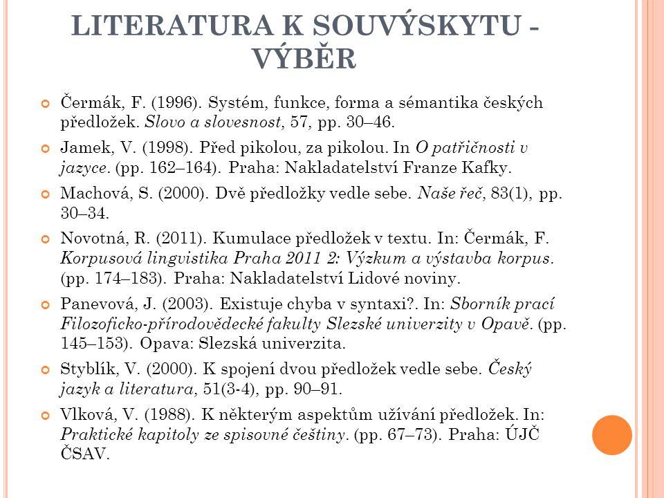 LITERATURA K SOUVÝSKYTU - VÝBĚR