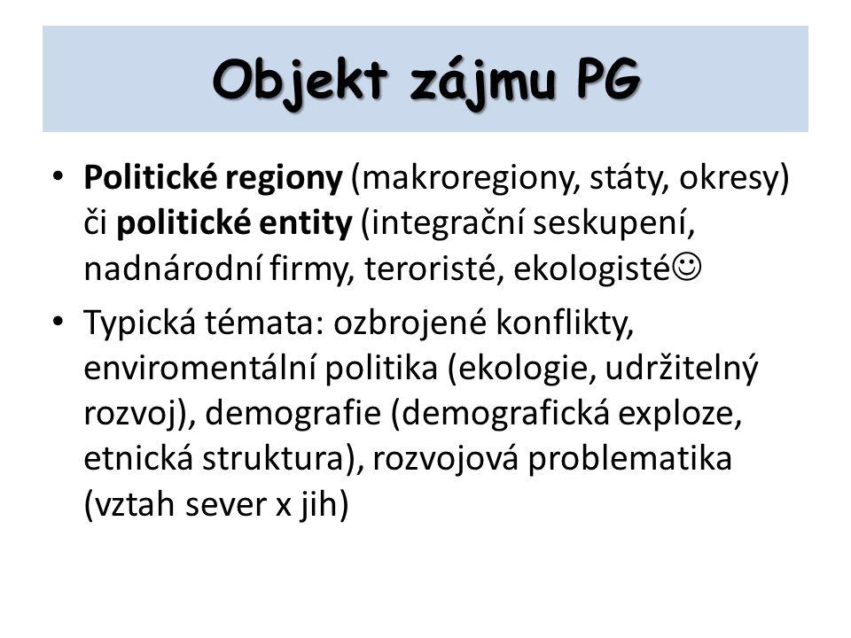 Objekt zájmu PG Politické regiony (makroregiony, státy, okresy) či politické entity (integrační seskupení, nadnárodní firmy, teroristé, ekologisté