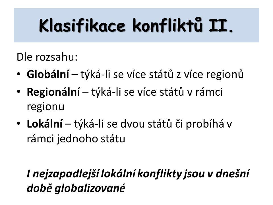 Klasifikace konfliktů II.