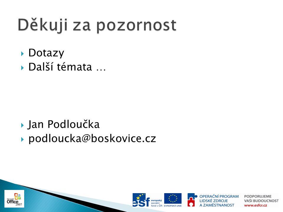 Děkuji za pozornost Dotazy Další témata … Jan Podloučka