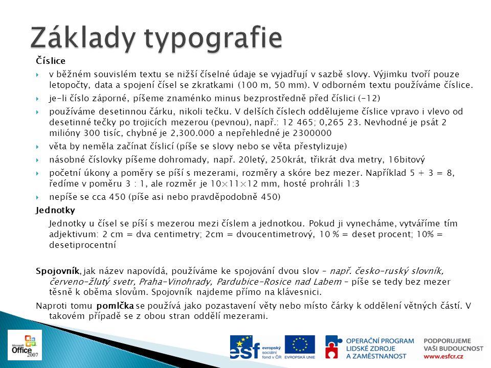 Základy typografie Číslice