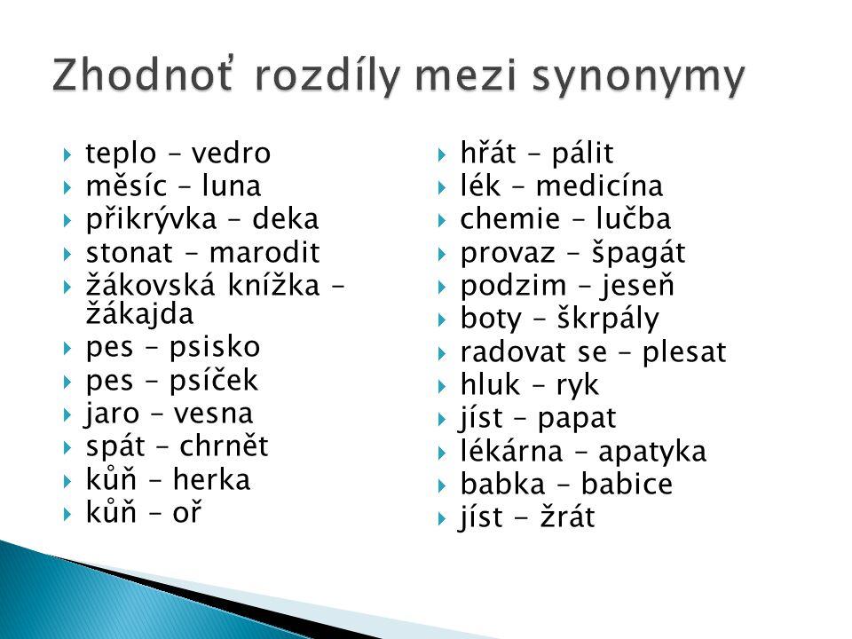 Zhodnoť rozdíly mezi synonymy