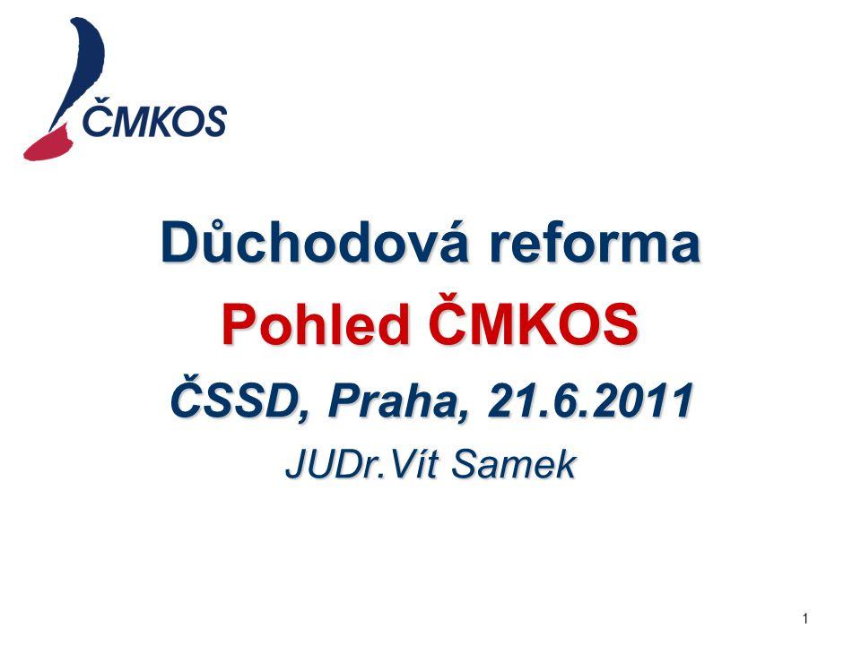 Důchodová reforma Pohled ČMKOS ČSSD, Praha, 21.6.2011 JUDr.Vít Samek