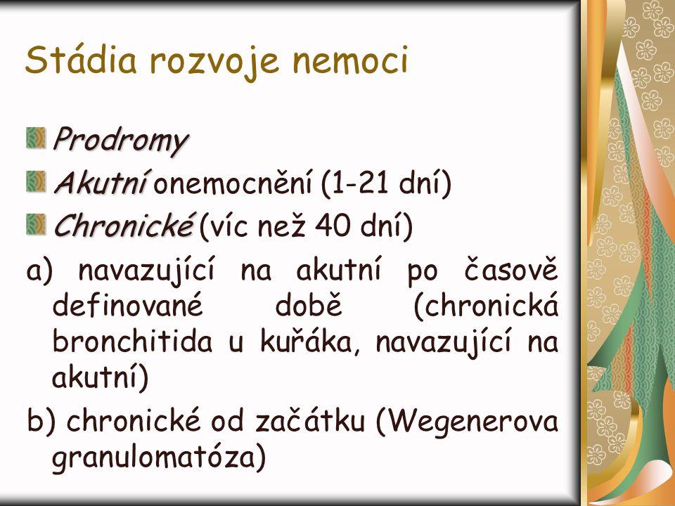 Stádia rozvoje nemoci Prodromy Akutní onemocnění (1-21 dní)