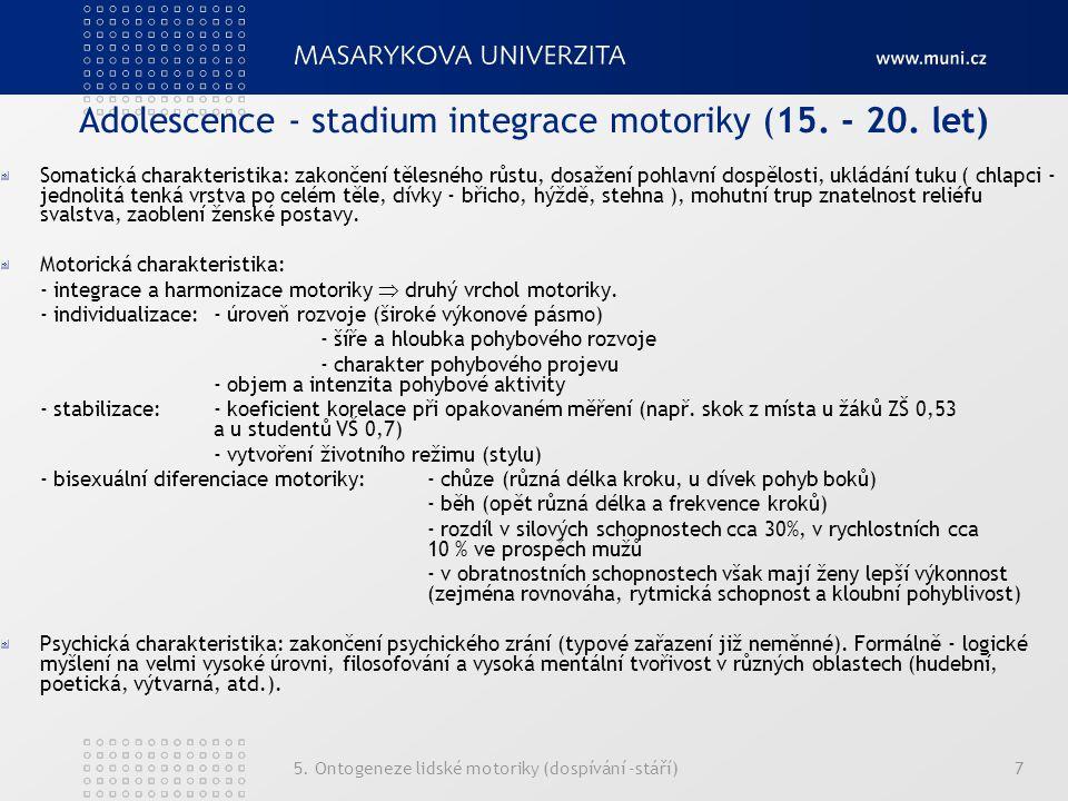 Adolescence - stadium integrace motoriky (15. - 20. let)