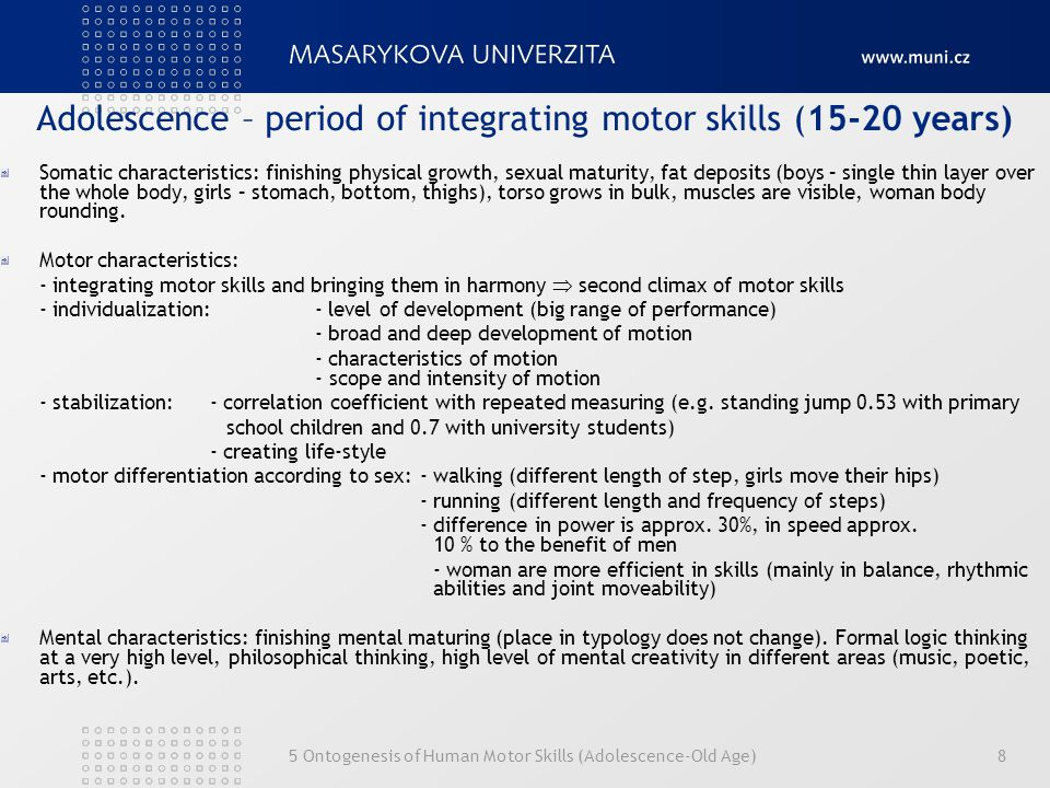 Adolescence – period of integrating motor skills (15-20 years)