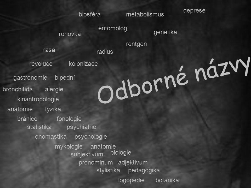 Odborné názvy deprese biosféra metabolismus entomolog genetika rohovka
