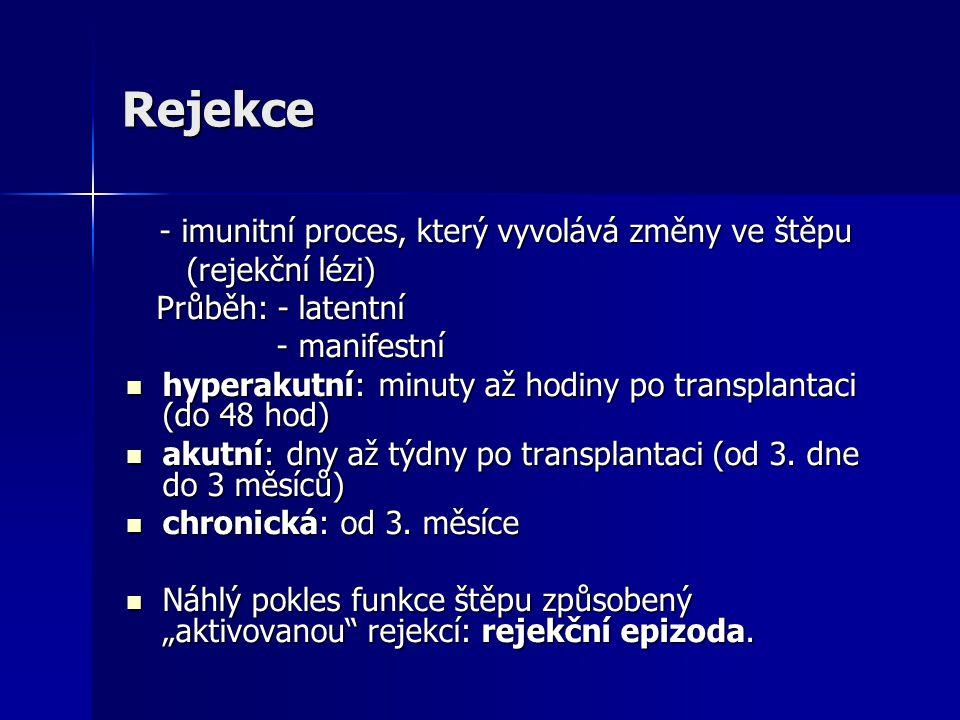 Rejekce (rejekční lézi) Průběh: - latentní - manifestní