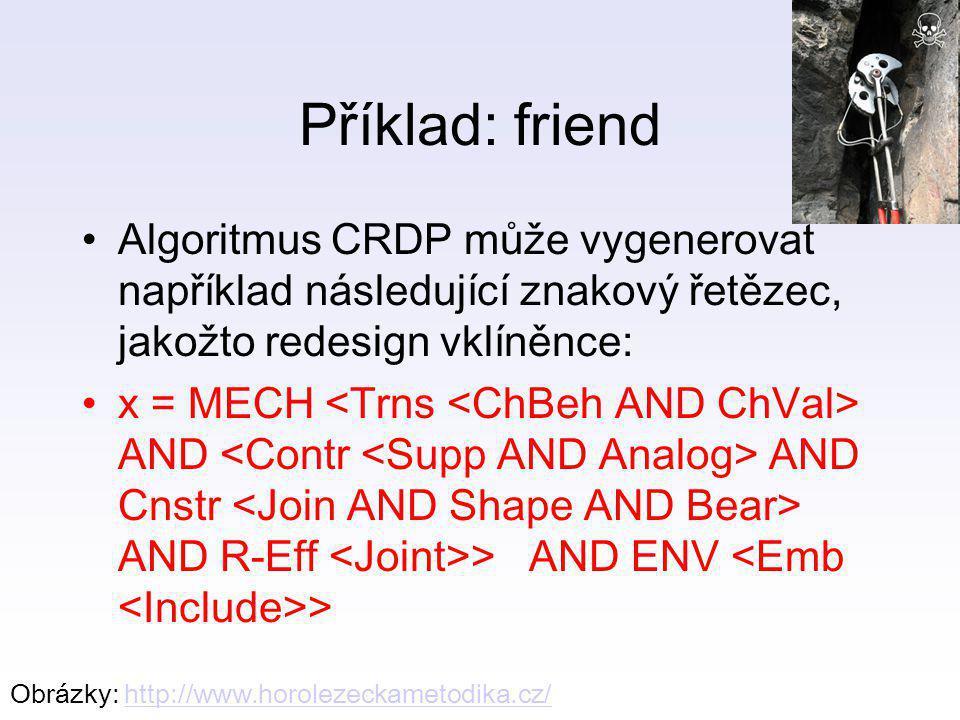 Příklad: friend Algoritmus CRDP může vygenerovat například následující znakový řetězec, jakožto redesign vklíněnce: