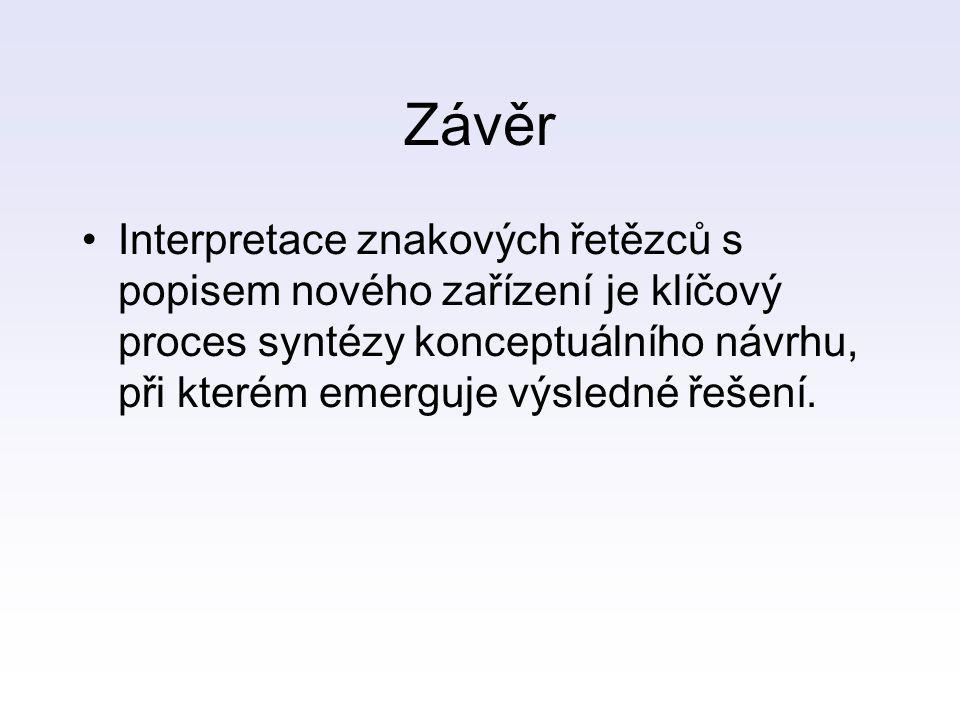Závěr Interpretace znakových řetězců s popisem nového zařízení je klíčový proces syntézy konceptuálního návrhu, při kterém emerguje výsledné řešení.
