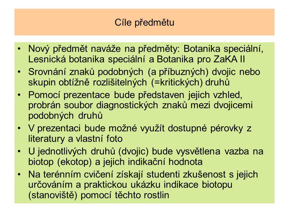 Cíle předmětu Nový předmět naváže na předměty: Botanika speciální, Lesnická botanika speciální a Botanika pro ZaKA II.