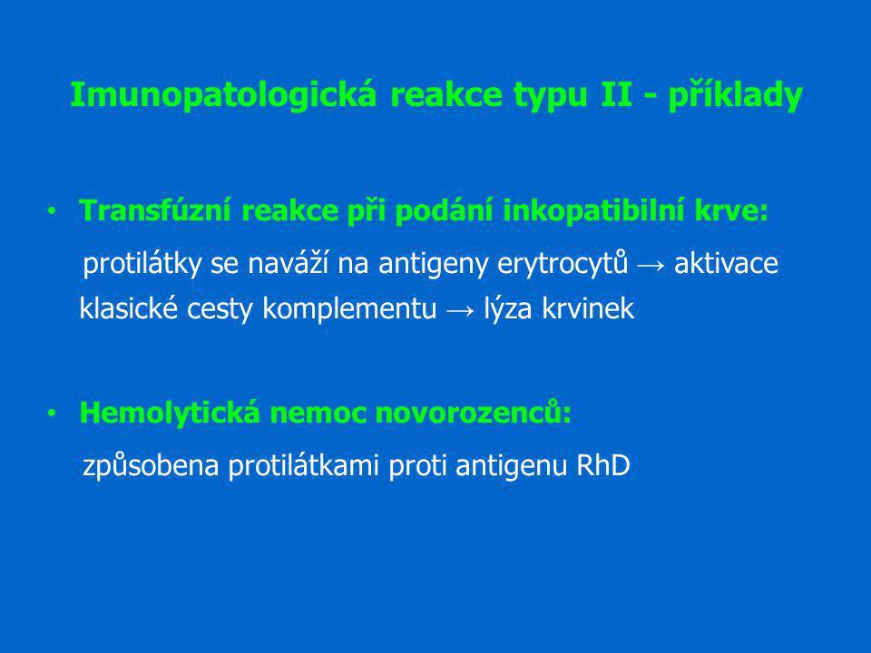 Imunopatologická reakce typu II - příklady