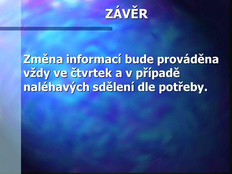 ZÁVĚR Změna informací bude prováděna vždy ve čtvrtek a v případě naléhavých sdělení dle potřeby.