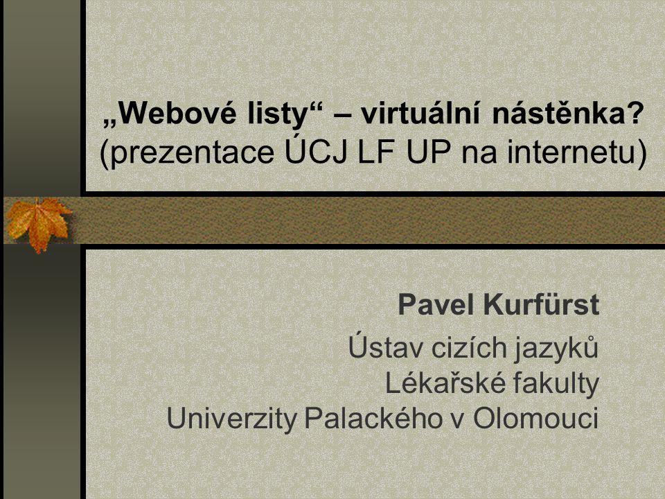 """""""Webové listy – virtuální nástěnka"""