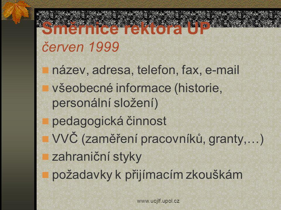 Směrnice rektora UP červen 1999