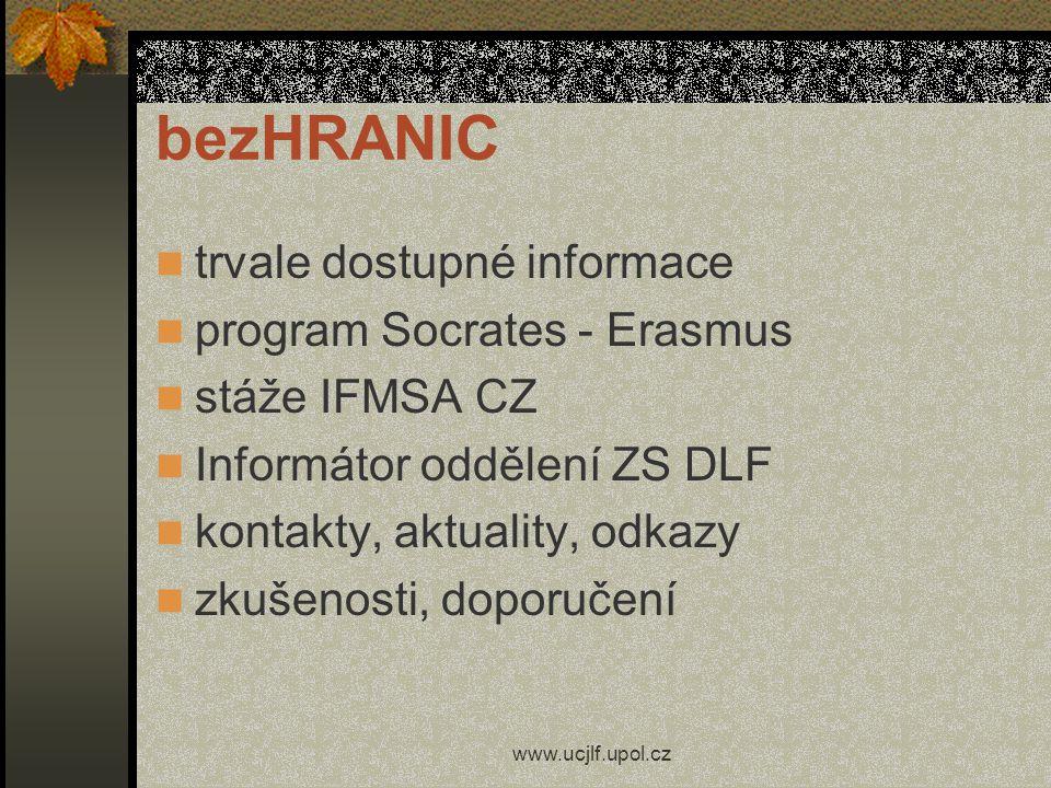 bezHRANIC trvale dostupné informace program Socrates - Erasmus