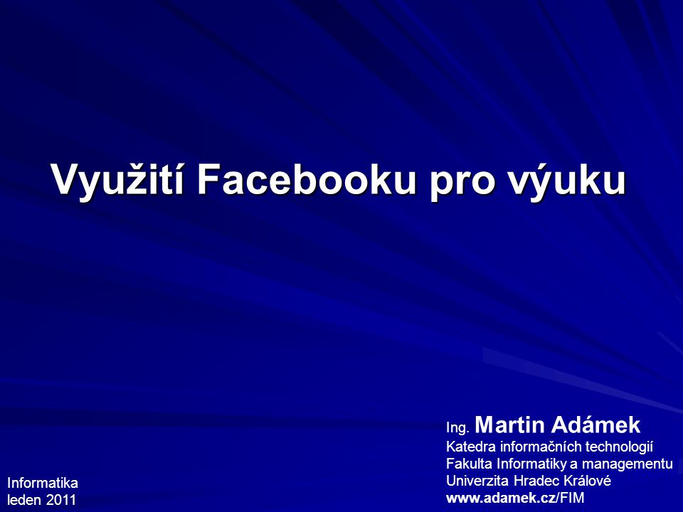 Využití Facebooku pro výuku