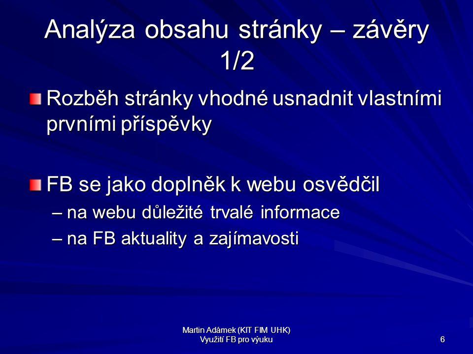 Analýza obsahu stránky – závěry 1/2