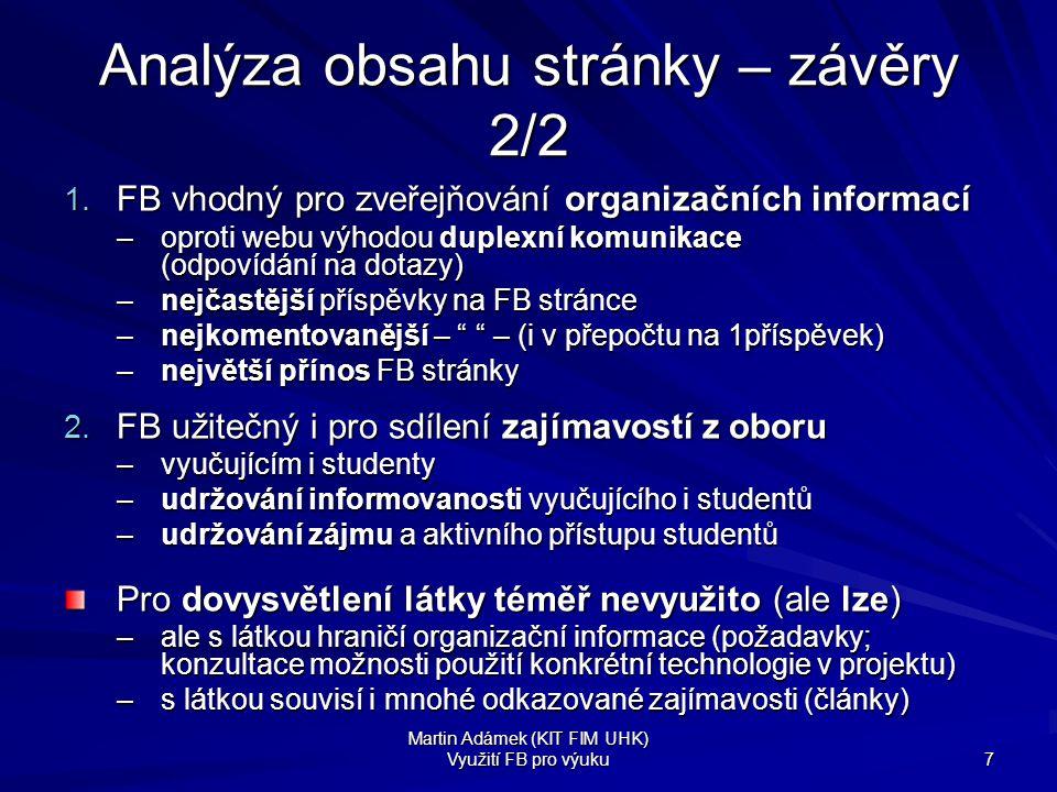 Analýza obsahu stránky – závěry 2/2
