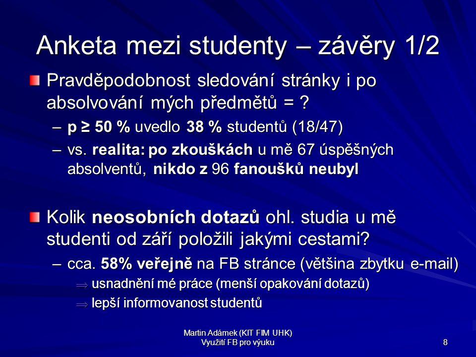 Anketa mezi studenty – závěry 1/2