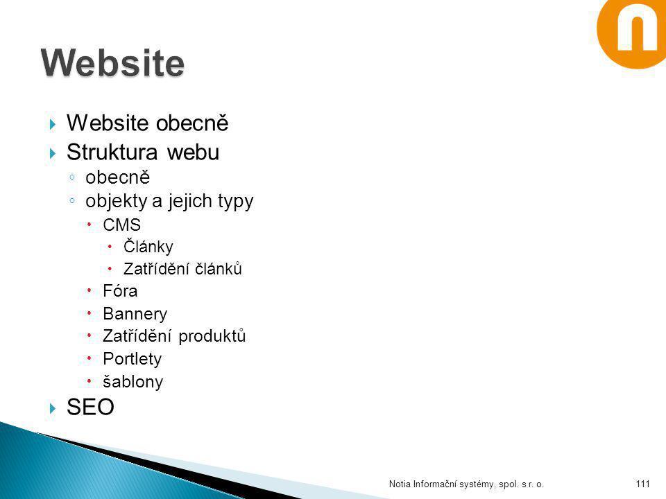 Website Website obecně Struktura webu SEO obecně objekty a jejich typy