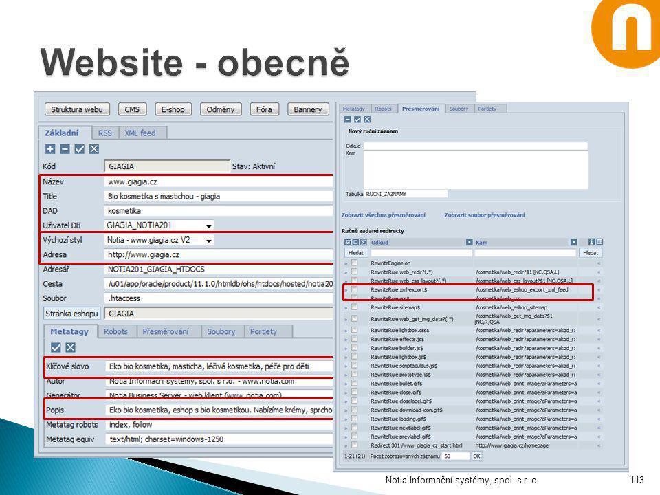 Website - obecně Notia Informační systémy, spol. s r. o.