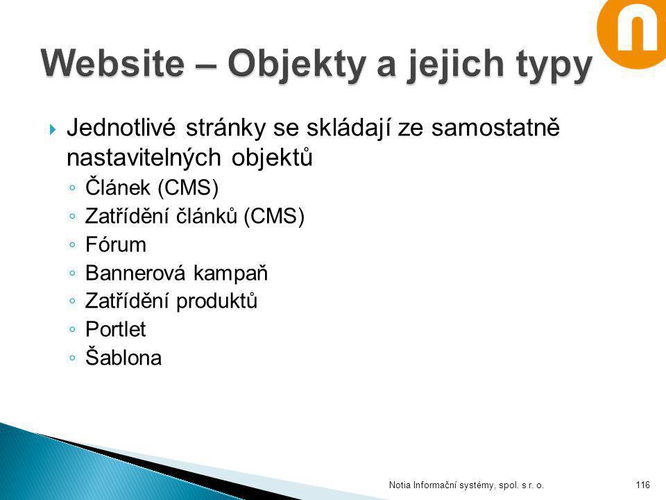 Website – Objekty a jejich typy