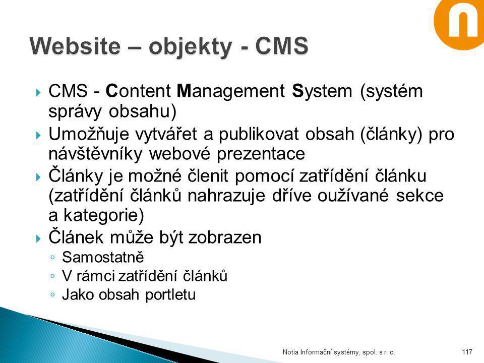 Website – objekty - CMS CMS - Content Management System (systém správy obsahu)