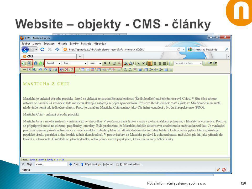 Website – objekty - CMS - články