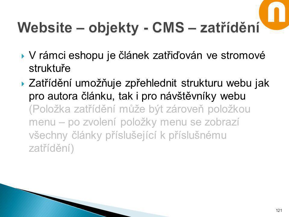 Website – objekty - CMS – zatřídění