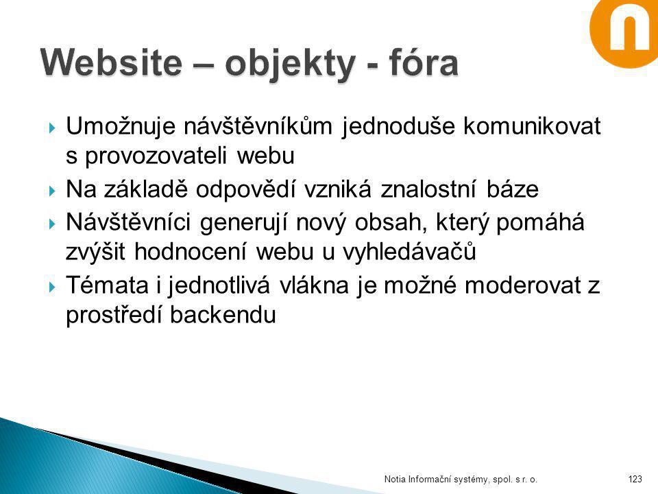 Website – objekty - fóra