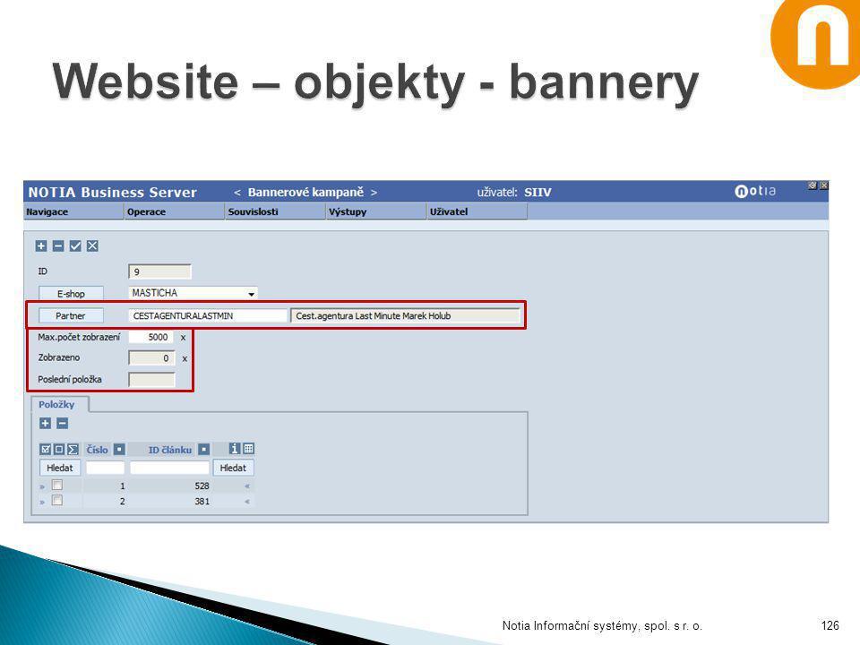 Website – objekty - bannery