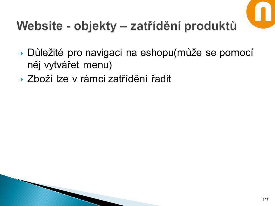 Website - objekty – zatřídění produktů